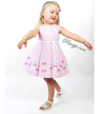MISS BLUMARINE  Girls Pink Striped Dress Bows
