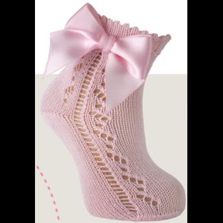 CARLOMAGNO - Socks Roze Opengewerkte Enkelkous  Strik