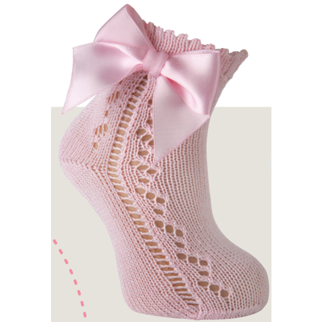 CARLOMAGNO - Socks Pink Openwork Ankle Sock With Satin Bow