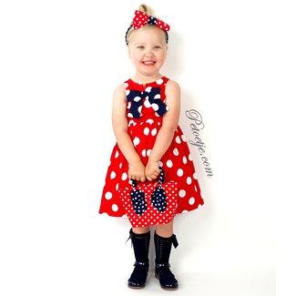 BALLOON CHIC Girls Red & White Dot Dress