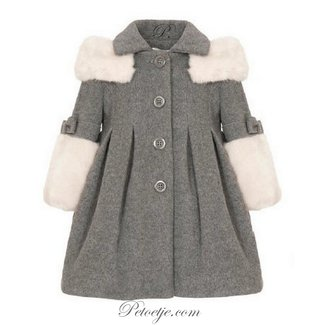 BALLOON CHIC Grey Faux Fur Blend Wool Coat