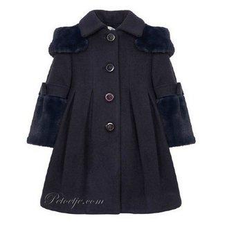BALLOON CHIC Navy Blue Faux Fur Blend Wool Coat