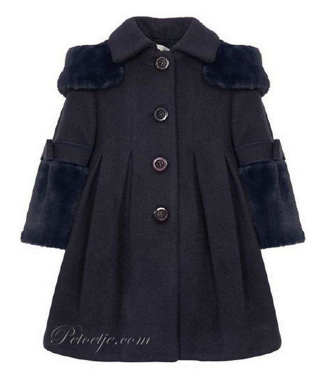 BALLOON CHIC Navy Blue Faux Fur Blend Wool Coat