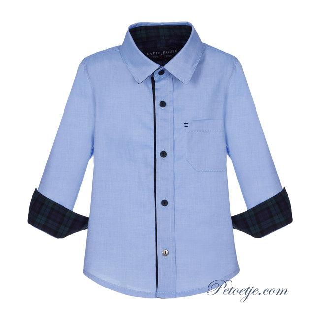 LAPIN HOUSE Boys Blue Cotton Logo Shirt - Green Tartan Touch