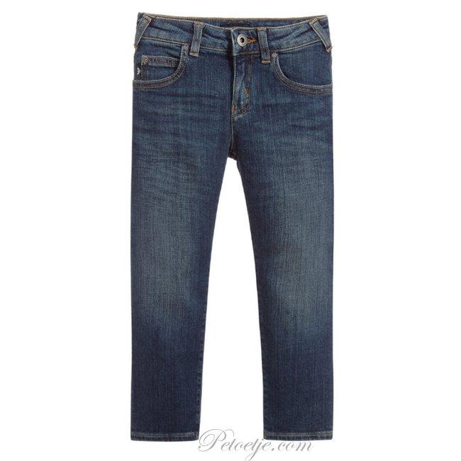 EMPORIO ARMANI Boys Mid Blue Straight Fit Jeans