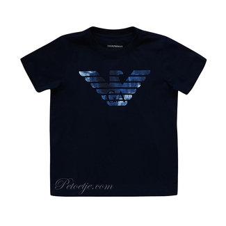 EMPORIO ARMANI Boys Blue Eagle Logo T-Shirt