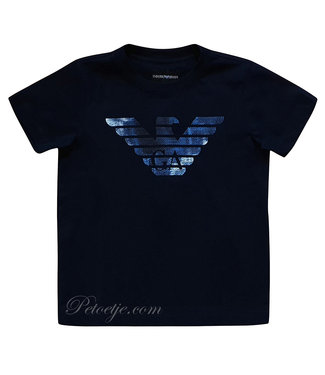 ARMANI Boys Blue Eagle Logo T-Shirt