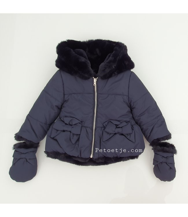 LAPIN HOUSE Girls Reversible Blue Faux Fur Jacket