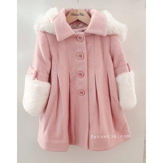 BALLOON CHIC Pink Faux Fur Blend Wool Coat