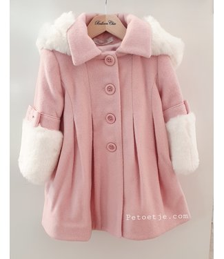 BALLOON CHIC Pink Faux Fur Blend Wool Coat