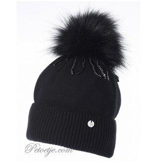 JAMIKS Black Wool Knit Hat  - Pom