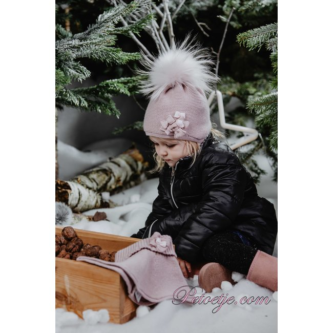 JAMIKS Pink Wool Knit Baby Hat - Pom