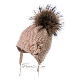 JAMIKS Beige Wool Knit Baby Hat - Pom