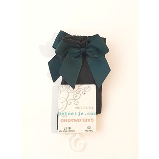 CARLOMAGNO - Socks Green Knee Socks Satin Bow