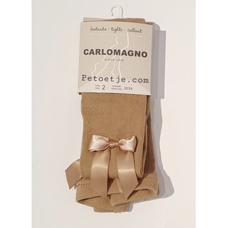 CARLOMAGNO - Socks Beige Satin Bow Cotton Tights