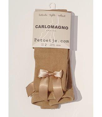 CARLOMAGNO - Socks Beige Satin Bow Cotton Tights
