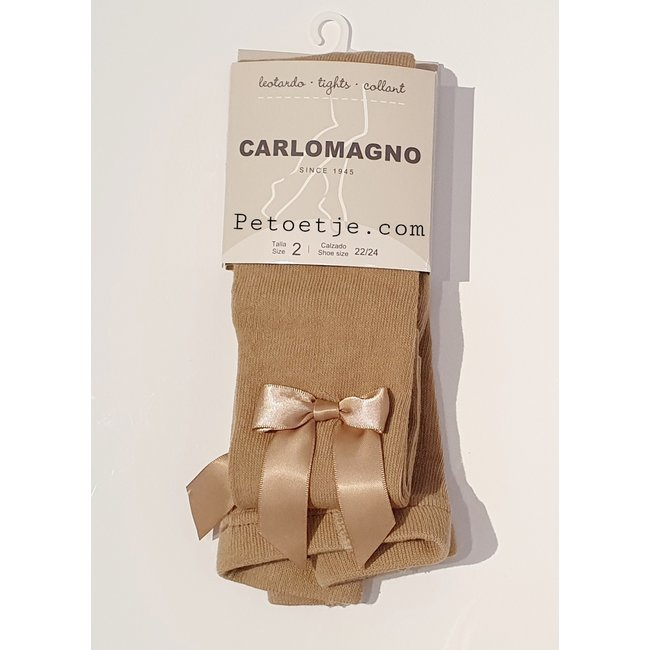 CARLOMAGNO - Socks Satin Bow Cotton Tights - Beige Camel