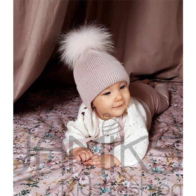 JAMIKS Pink Wool Knit Hat - Pom