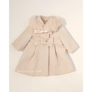 BARCELLINO Beige Coat - Pink Fur Collar