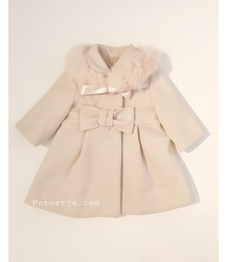 BARCELLINO Beige Coat - Pink Fur Collar