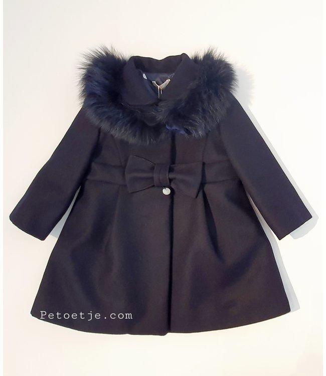 BARCELLINO Girls Blue Coat - Fur Collar