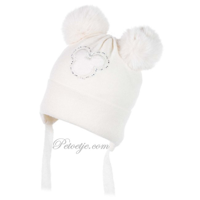 JAMIKS Ivory Wool Knit Baby Hat