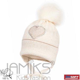 JAMIKS Beige Wool Knit Baby Hat