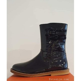 CLARYS  Navy Blue Mid-High Patent Boots