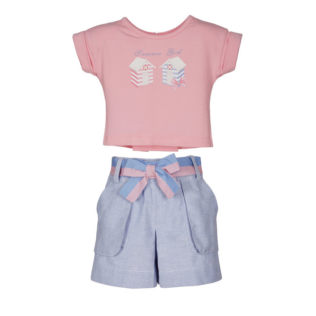 LAPIN HOUSE Girls Pink & Blue Shorts Set - Bow on the Back