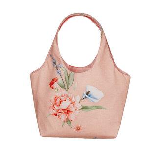 LAPIN HOUSE Orange Floral Cotton Handbag (14cm)