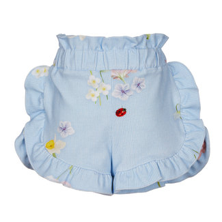 LAPIN HOUSE Girls Blue Floral Ruffle Shorts
