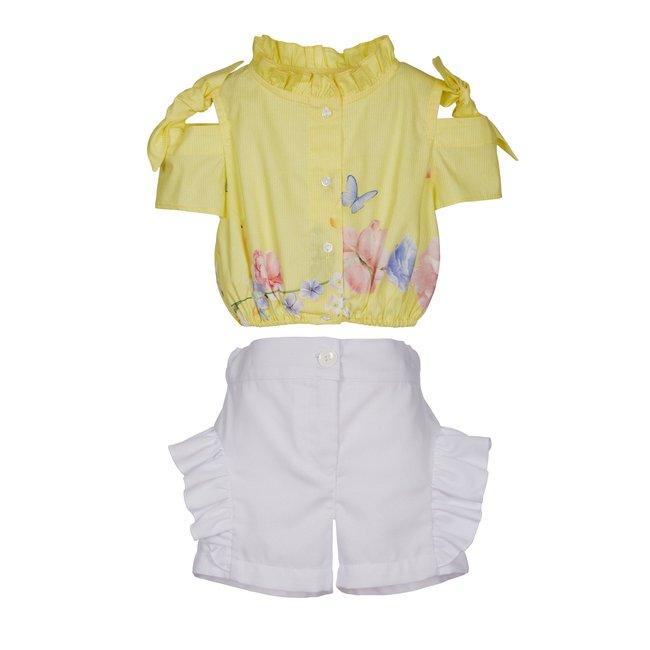 LAPIN HOUSE Yellow & White Shorts Set