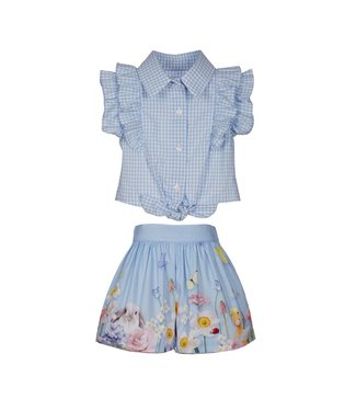 LAPIN HOUSE Blauw Geruite Short Set
