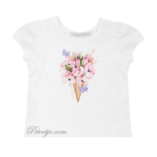 BALLOON CHIC White Cotton Top - Flower Ice