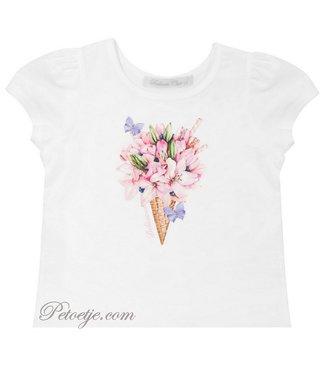 BALLOON CHIC Witte T-shirt - Bloemen Ijs