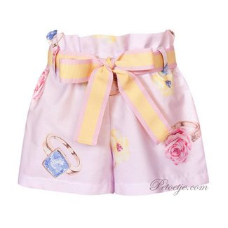 BALLOON CHIC Meisjes Roze Short - Bloemen Ring