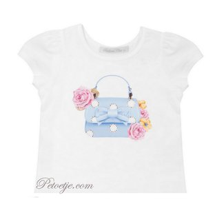 BALLOON CHIC White Cotton Top - Floral Handbag