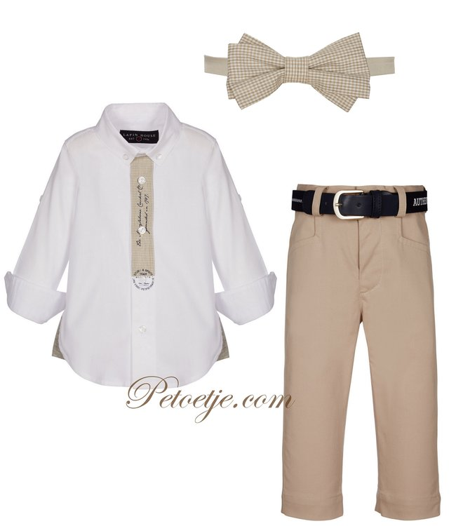 LAPIN HOUSE Boys White & Beige 3-piece Set