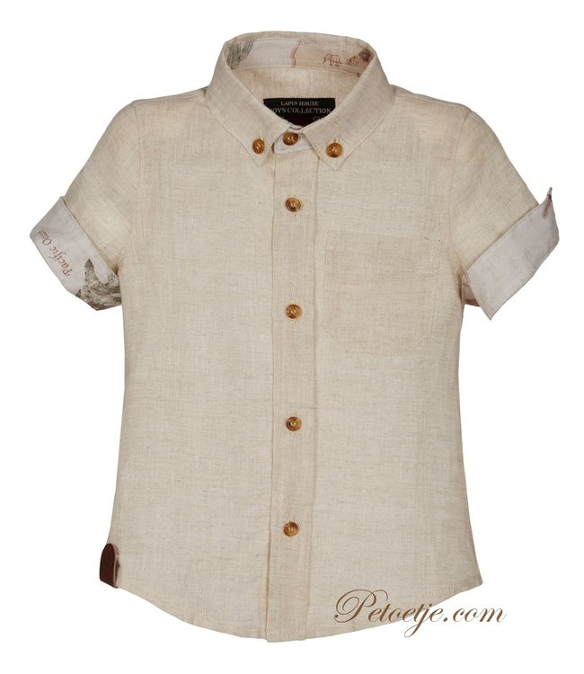 LAPIN HOUSE Boys Beige Linen Shirt