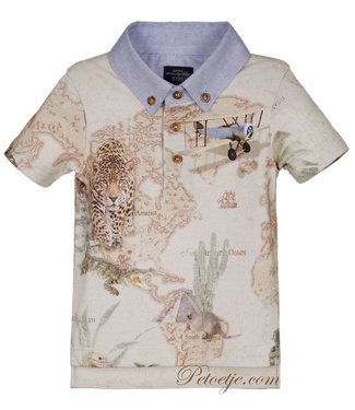 LAPIN HOUSE Beige Map Print Polo Shirt