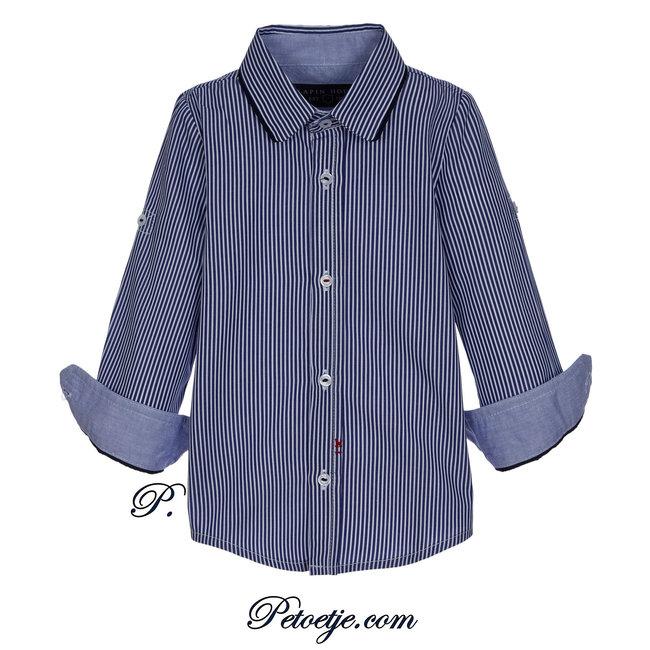 LAPIN HOUSE Boys Blue Striped Cotton Shirt