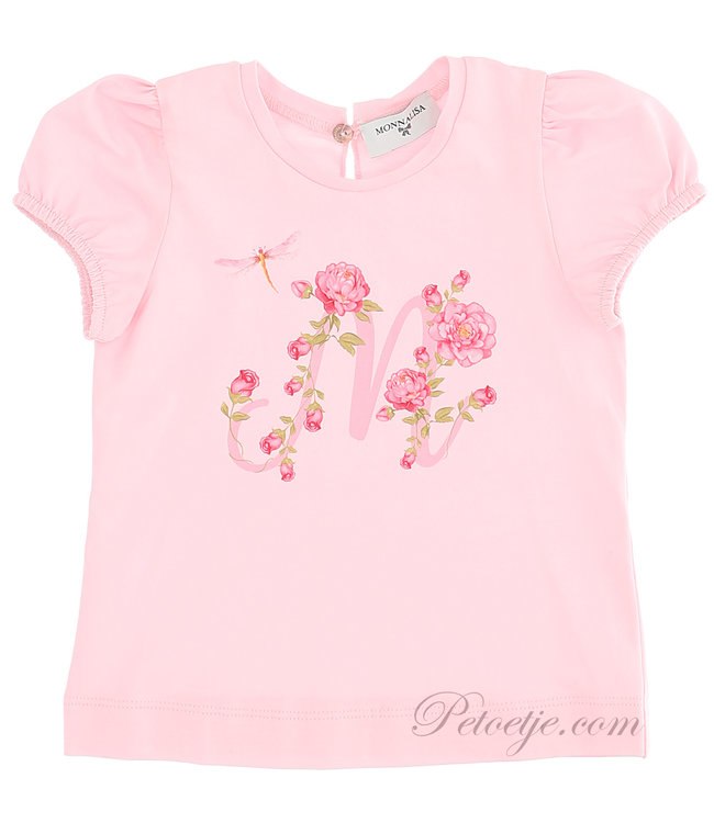 MONNALISA Baby Girls Pink Floral Top