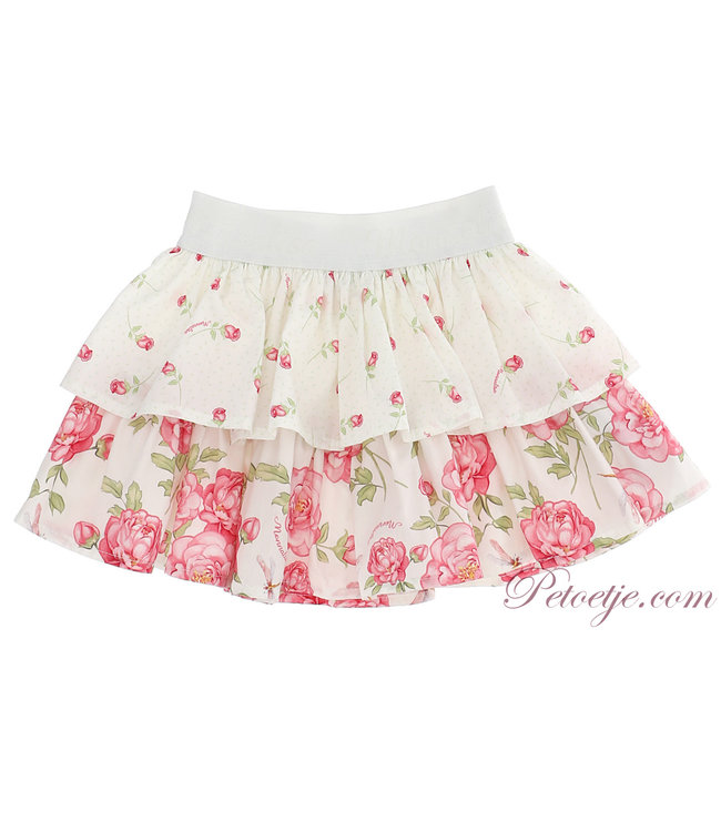 MONNALISA Baby Girls Ivory Floral Skirt