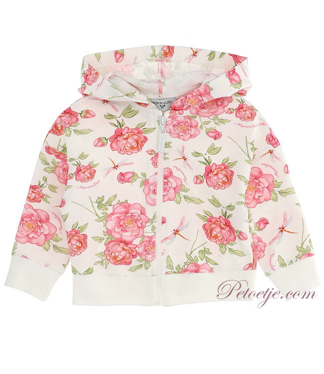 MONNALISA Baby Girls White Floral Zip Up Top