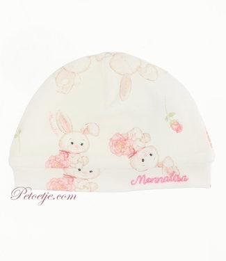 MONNALISA Baby Meisjes Witte Muts - Bloemen Konijn