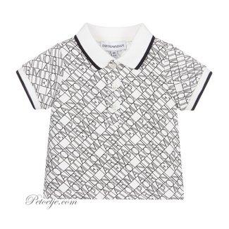EMPORIO ARMANI White & Blue Logo Polo Shirt