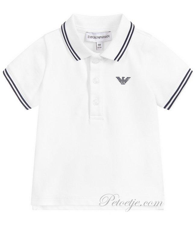EMPORIO ARMANI Baby White Cotton Logo Polo Shirt