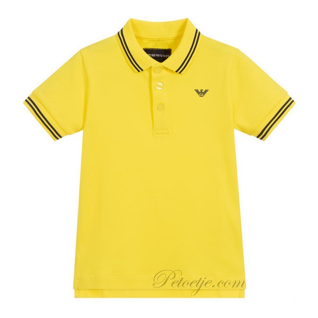 EMPORIO ARMANI Boys Yellow Cotton Logo Polo Shirt