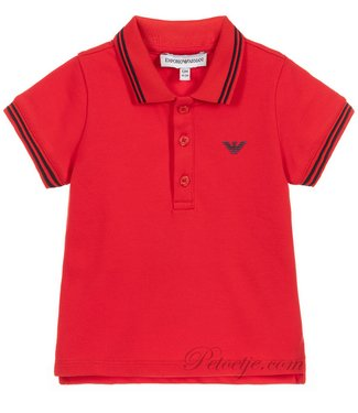 EMPORIO ARMANI Jongens Rode Logo Polo Shirt