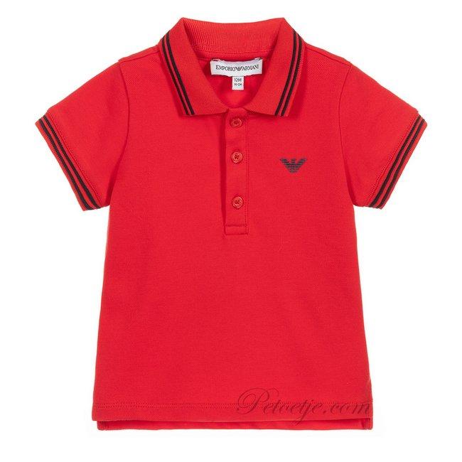 EMPORIO ARMANI Boys Red Cotton Logo Polo Shirt